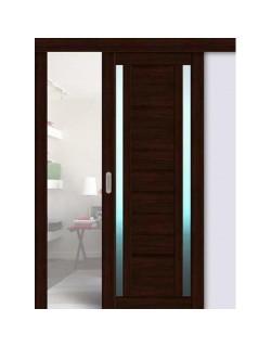 Дверь раздвижная экошпон 203, цвет дуб мокко, остекленная - стекло матовое