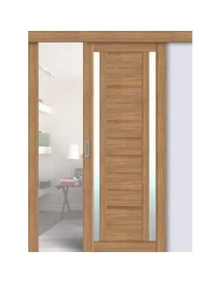 Дверь раздвижная экошпон 203, цвет дуб сантьяго, остекленная