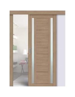 Дверь раздвижная экошпон 203, цвет тиковое дерево, остекленная