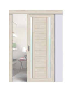 Дверь раздвижная экошпон 203, цвет ясень латте, остекленная