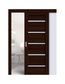 Дверь раздвижная экошпон 206, цвет дуб мокко, остекленная