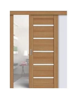 Дверь раздвижная экошпон 206, цвет дуб сантьяго, остекленная