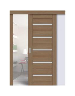 Дверь раздвижная экошпон 206, цвет тиковое дерево, остекленная