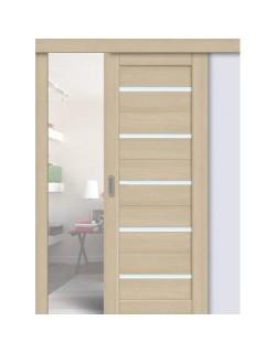 Дверь раздвижная экошпон 206, цвет ясень латте, остекленная