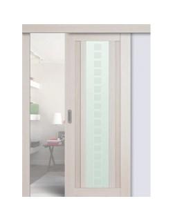 Дверь раздвижная экошпон №16X-Модерн, цвет эш вайт мелинга, остекленная