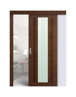 Дверь раздвижная экошпон №16X-Модерн, цвет малага черри кроскут, остекленная