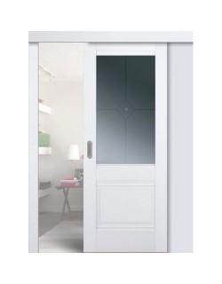 Дверь раздвижная экошпон № 2 U, цвет аляска, остекленная