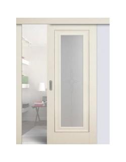 Дверь раздвижная экошпон №24Х-Классика,  цвет эш вайт, остекленная