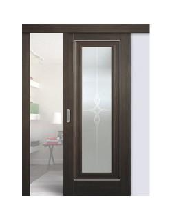 Дверь раздвижная экошпон №24Х-Классика, цвет натвуд натинга, остекленная