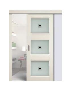 Дверь раздвижная экошпон №4Х-Классикк, цвет эш вайт, остекленная