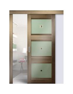 Дверь раздвижная экошпон №4Х-Классика, цвет орех сиена, остекленная