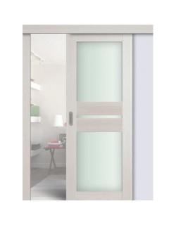 Дверь раздвижная экошпон №70X-Модерн, цвет эш вайт мелинга, остекленная