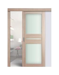 Дверь раздвижная экошпон №70X-Модерн, цвет капучино мелинга, остекленная