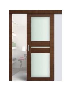 Дверь раздвижная экошпон №70X-Модерн, цвет малага черри кроскут, остекленная