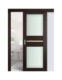 Дверь раздвижная экошпон №70X-Модерн, цвет венге мелинга, остекленная