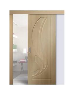 Дверь раздвижная ПВХ Лилия, цвет беленый дуб, глухая