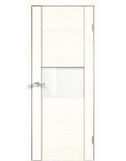 Межкомнатная дверь Modern 1, белый ясень, стекло белый лакобель