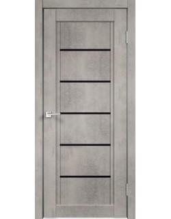 Межкомнатная дверь NEXT 1, муар светло- серый бетон, черное стекло