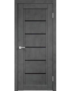Межкомнатная дверь NEXT 1, муар темно- серый бетон, черное стекло