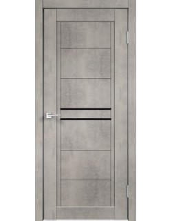 Межкомнатная дверь NEXT 2, муар светло- серый бетон, черное стекло