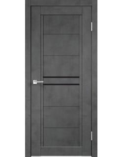 Межкомнатная дверь NEXT 2, муар темно- серый бетон, черное стекло