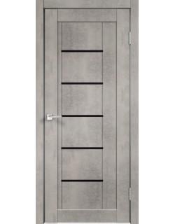 Межкомнатная дверь NEXT 3, муар светло- серый бетон, черное стекло