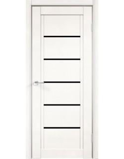 Межкомнатная дверь NEXT 1, эмалит белый, черное стекло