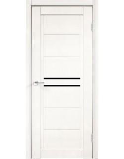 Межкомнатная дверь NEXT 2, эмалит белый, черное стекло