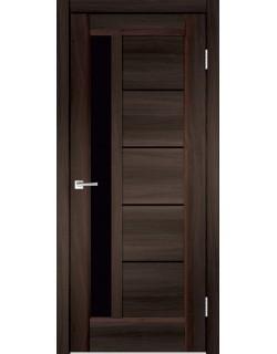 Межкомнатная дверь PREMIER 3, орех каштан, черное стекло