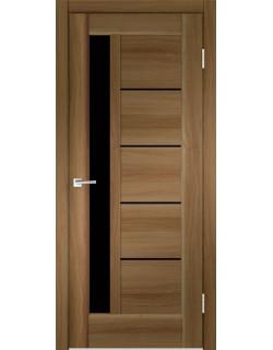 Межкомнатная дверь PREMIER 3 орех золотой, черное стекло