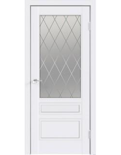 Межкомнатная дверь SCANDI 3V, эмаль белая, стекло ромб