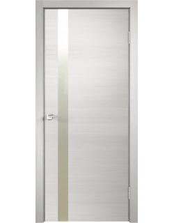 Межкомнатная дверь SMART Z 1, дуб белый, стекло лакобель белое