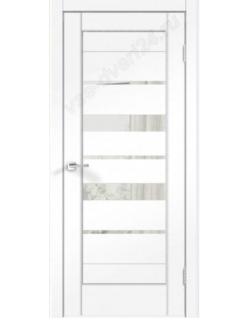Межкомнатная дверь PREMIER, 23 ясень белый, стекло зеркало