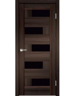 Межкомнатная дверь PREMIER 5, орех каштан, стекло черное