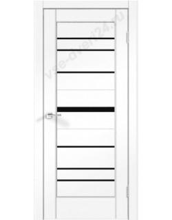 Межкомнатная дверь PREMIER 20, ясень белый, стекло черное