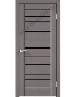 Межкомнатная дверь PREMIER 20, ясень грей, стекло черное