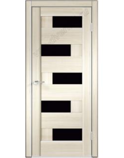 Межкомнатная дверь PREMIER 5, ясень японский, стекло черное