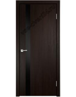 Межкомнатная дверь SMART Z 1, венге, стекло черное