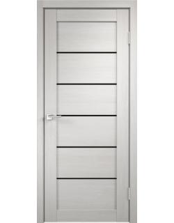 Дверь межкомнатная Velldoris Linea 1 лакобель черное экошпон Белый дуб