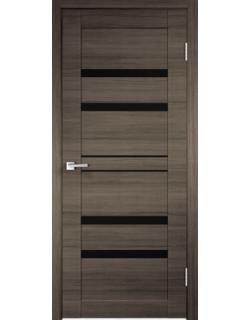 Дверь межкомнатная Velldoris Linea 6 лакобель черное экошпон Дуб серый поперечный