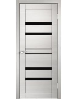 Дверь межкомнатная Velldoris Linea 6 лакобель черное экошпон Дуб белый поперечный
