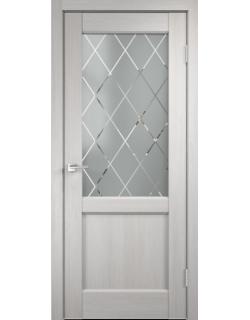 Дверь межкомнатная Velldoris Classico_3 2V (Стекло) Ромб светлое экошпон Белый дуб
