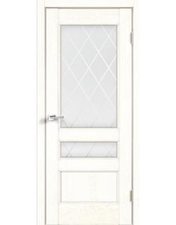 Дверь межкомнатная Velldoris Classico 3V (Стекло) Ромб светлый экошпон Белый ясень
