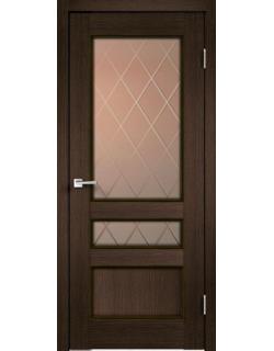Дверь межкомнатная Velldoris Classico 3V (Стекло) Ромб бронза экошпон Мокка