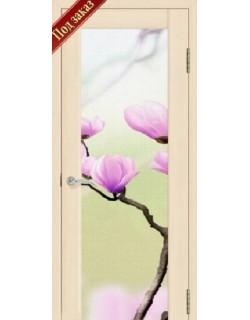 Дверь Сиб-профиль фото Цветы сакуры ясень латте (заказ)