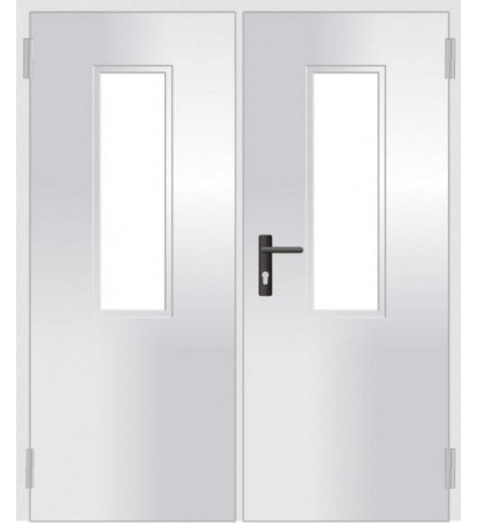 Дверь противопожарная двустворчатая остекленная