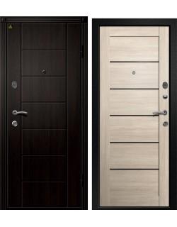 Входная дверь Орфей -211 (Хай-Тек), Сатин черный, Лиственница светлая Ретвизан