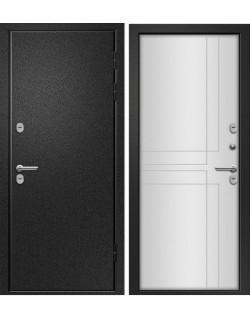 Входная дверь Веста, Букле черный, Белый НП Ретвизан