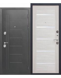 Входная дверь Троя 10см Серебро Лиственница беж царга