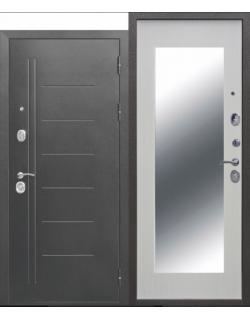 Входная дверь Троя 10см Серебро MAXI зеркало белый ясень